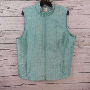Weekends by Chico's Aqua Quilted Zip Up Vest NWOT
